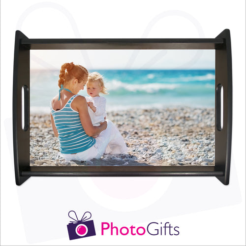 Large black personalised tray with your own choice of image as produced by Photogifts.co.uk