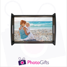 Load image into Gallery viewer, Small black tray that is personalised with your own choice of image as produced by Photogifts.co.uk