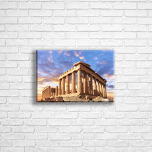 "Load image into Gallery viewer, Personalised 12x8"" landscape border canvas with your own choice of image hung on a white brick wall by Photogifts.co.uk"