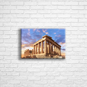 "Personalised 12x8"" landscape border canvas with your own choice of image hung on a white brick wall by Photogifts.co.uk"