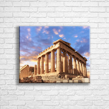 "Load image into Gallery viewer, Personalised 20x16"" landscape border canvas with your own choice of image hung on a white brick wall by Photogifts.co.uk"