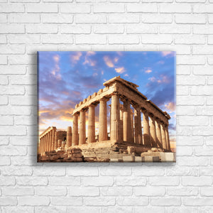 "Personalised 20x16"" landscape border canvas with your own choice of image hung on a white brick wall by Photogifts.co.uk"