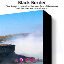 Load image into Gallery viewer, Close Up of corner of personalised canvas showing what the black border version is like by Photogifts.co.uk