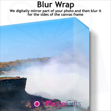 Load image into Gallery viewer, Close Up of corner of personalised canvas showing what the blur wrap border version is like by Photogifts.co.uk