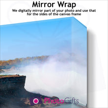 Load image into Gallery viewer, Close Up of corner of personalised canvas showing what the mirror wrap border version is like by Photogifts.co.uk