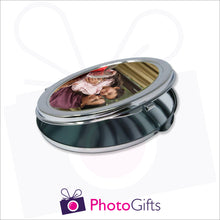 Load image into Gallery viewer, Partially closed personalised oval compact mirror with your own choice of image on the front as produced by Photogifts.co.uk