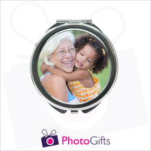 Load image into Gallery viewer, Personalised round compact mirror with your own choice of image on the front as produced by Photogifts.co.uk