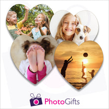 Load image into Gallery viewer, Four individually personalised heart shaped cork backed coasters with your own choice of image as produced by Photogifts.co.uk
