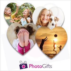 Four individually personalised heart shaped cork backed coasters with your own choice of image as produced by Photogifts.co.uk