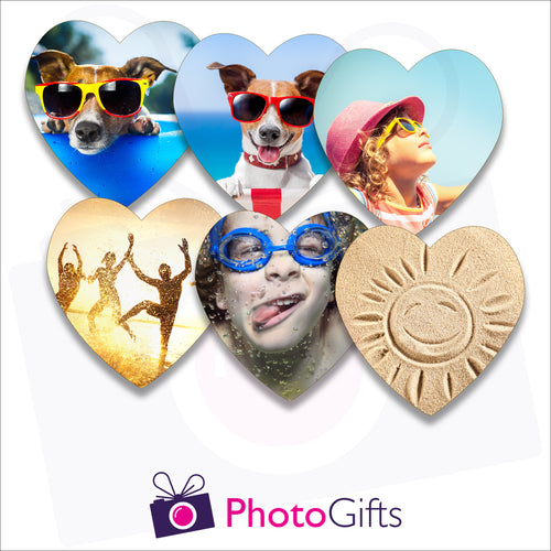 Six individually personalised heart shaped cork backed coasters with your own choice of image as produced by Photogifts.co.uk