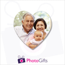 Load image into Gallery viewer, personalised heart shaped cork back coaster with your own choice of image on the front of the coaster as produced by Photogifts.co.uk