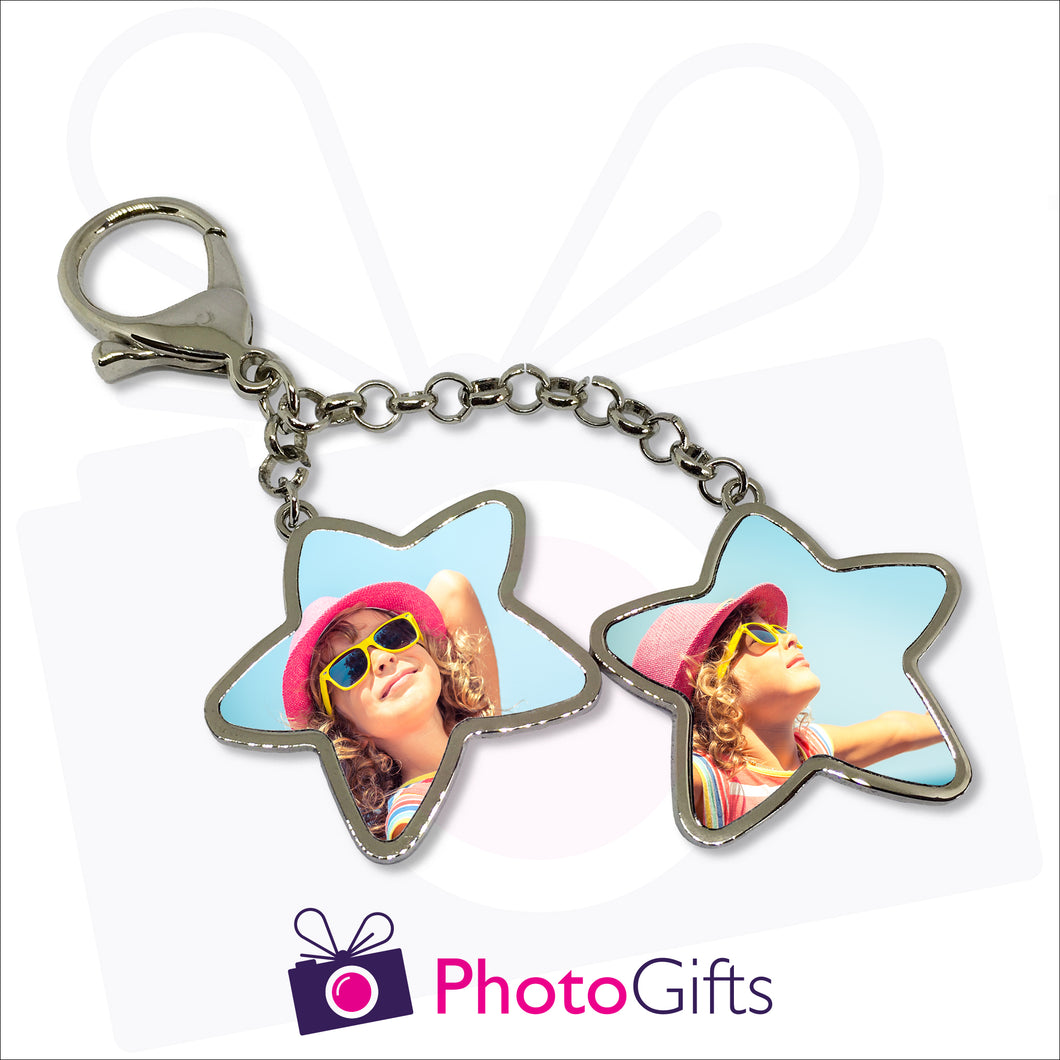 Four metal stars hanging off a key chain with your own choice of images on each star. Each star is double sided.