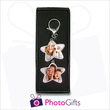 Load image into Gallery viewer, Personalised double star keyring presented in box as supplied by Photogifts.co.uk