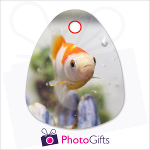 Personalised droplet shaped glass chopping board with your own choice of image as produced by Photogifts.co.uk