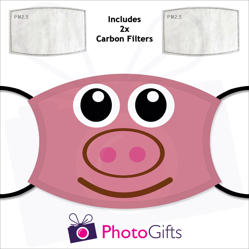 Personalised face cover with the picture of a pink pig face on the cover and two carbon filters as produced by Photogifts.co.uk