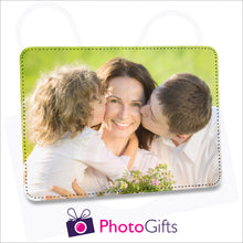 "Load image into Gallery viewer, Faux leather customised photo panel 252mm x 202mm (10"" x 8"") in landscape orientation. Can be printed with your own image."