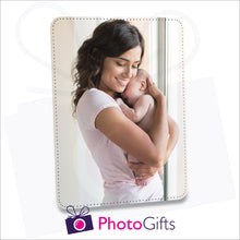 "Load image into Gallery viewer, Faux leather customised photo panel 252mm x 202mm (10"" x 8"") in portrait orientation. Can be printed with your own image."