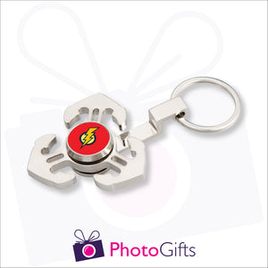 Fidget spinner with three anchors attached to a keyring. Centre piece of spinner has your own choice of image.