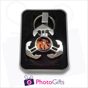 Anchor style fidget spinner on keyring in gift tin as supplied by Photogifts.co.uk. Your choice of image is printed on the middle part of the spinner.