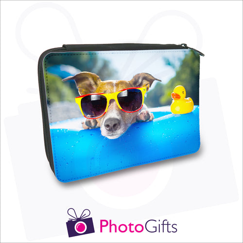 Large black filled pencil case that is personalised with your own choice of image as produced by Photogifts.co.uk