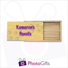 Load image into Gallery viewer, Large wooden personalised pencil case partially closed with your choice of image on the top as produced by Photogifts.co.uk