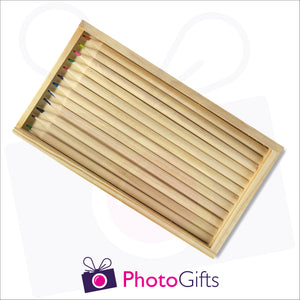 Large wooden personalised pencil case with top removed with your choice of image on the top as produced by Photogifts.co.uk