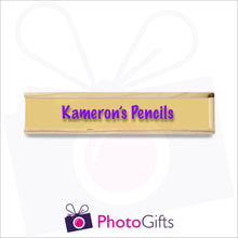 Load image into Gallery viewer, Small wooden personalised pencil case closed with your choice of image on the top as produced by Photogifts.co.uk