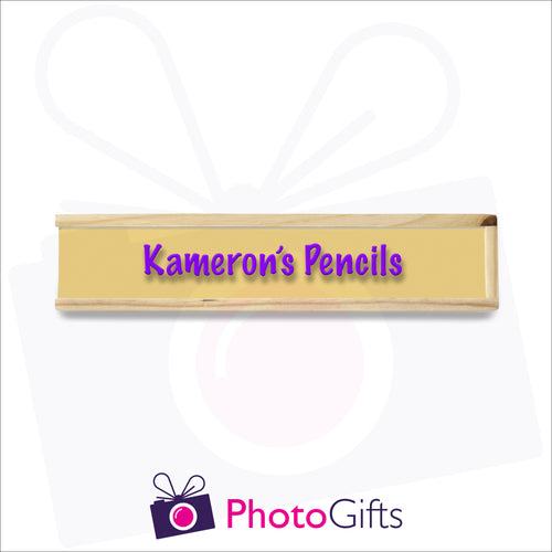 Small wooden personalised pencil case closed with your choice of image on the top as produced by Photogifts.co.uk