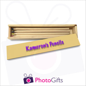 Small wooden personalised pencil case with top resting on case with your choice of image on the top as produced by Photogifts.co.uk