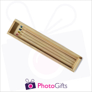Small wooden personalised pencil case with top removed with your choice of image on the top as produced by Photogifts.co.uk