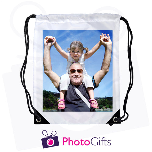 White gym sac bag with black corners and drawstring with your own choice of image printed on the sac as produced by Photogifts.co.uk