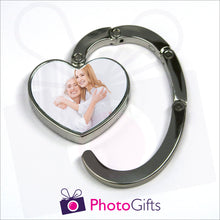 Load image into Gallery viewer, Heart shaped bag hanger partially open with your own choice of image in the centre as produced by Photogifts.co.uk