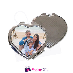 Front and back view of personalised heart shaped compact mirror with your own choice of image on the front as produced by Photogifts.co.uk