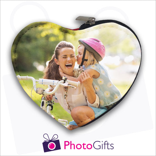 Heart shaped coin purse with your own choice of image on the front as produced by Photogifts.co.uk