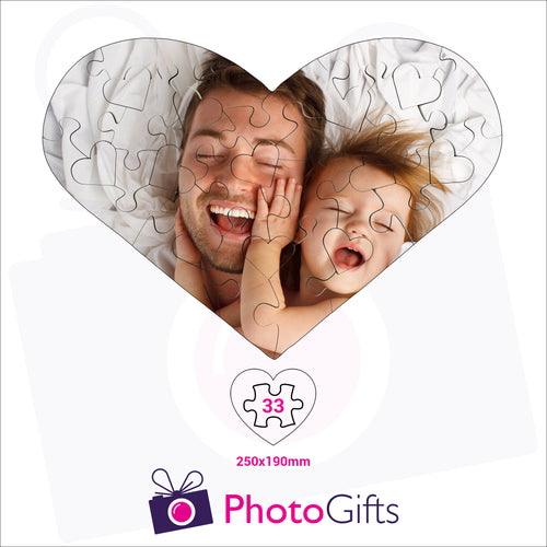Personalised heart shaped jigsaw with your own choice of image. Breaks down into 33 pieces . As produced by Photogifts.co.uk