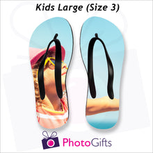 Load image into Gallery viewer, Large kids sized personalised flip-flops with your own choice of image as produced by Photogifts.co.uk