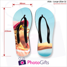 Load image into Gallery viewer, Dimensions of Large kids sized personalised flip-flops with your own choice of image as produced by Photogifts.co.uk