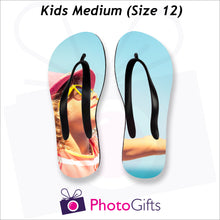 Load image into Gallery viewer, Medium kids sized personalised flip-flops with your own choice of image as produced by Photogifts.co.uk