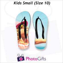 Load image into Gallery viewer, Small kids sized personalised flip-flops with your own choice of image as produced by Photogifts.co.uk