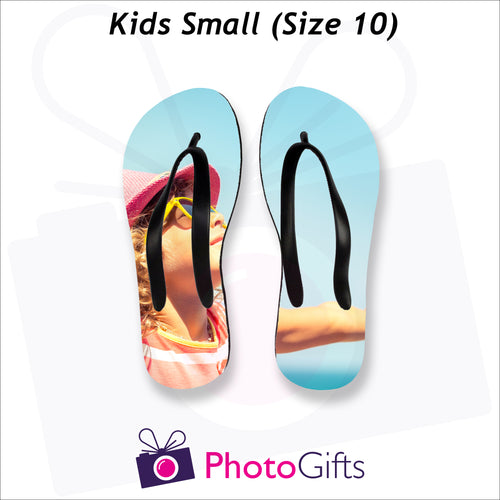 Small kids sized personalised flip-flops with your own choice of image as produced by Photogifts.co.uk