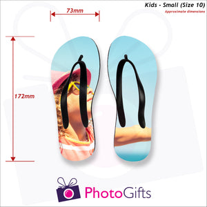 Dimensions of Small kids sized personalised flip-flops with your own choice of image as produced by Photogifts.co.uk