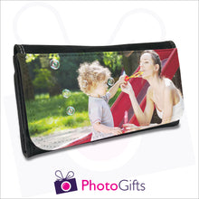 Load image into Gallery viewer, Black personalised faux leather maxi wallet with your own choice of image on the front as produced by Photogifts.co.uk