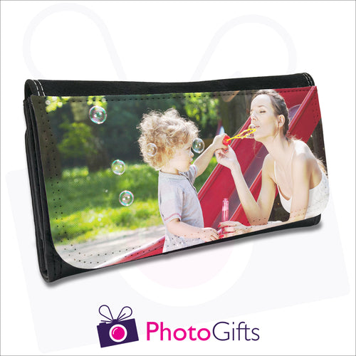 Black personalised faux leather maxi wallet with your own choice of image on the front as produced by Photogifts.co.uk