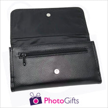 Load image into Gallery viewer, Inside detail of black faux leather personalised maxi wallet showing small zipped pocket together with the pocket for the notes as produced by Photogifts.co.uk