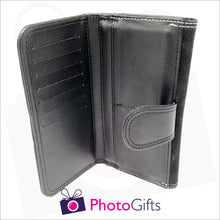 Load image into Gallery viewer, Inside detail of personalised faux leather ladies maxi wallet showing section for credit cards as produced by Photogifts.co.uk