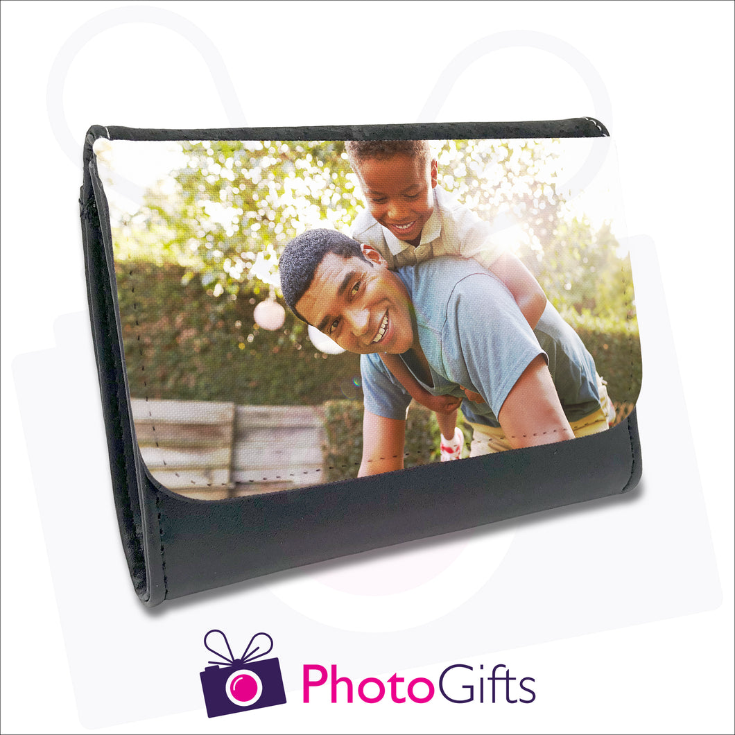 Personalised black faux leather ladies wallet with your own choice of image on the front flap as produced by Photogifts.co.uk