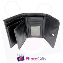 Load image into Gallery viewer, Inside detail of ladies personalised black faux leather wallet showing the credit card slots as well as the main compartment for notes and the window section for drivers licence or id as produced by Photogifts.co.uk