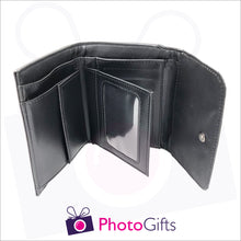 Load image into Gallery viewer, Black faux leather ladies wallet inside detail showing coin section and credit card slots together with a windowed pocket as produced by Photogifts.co.uk