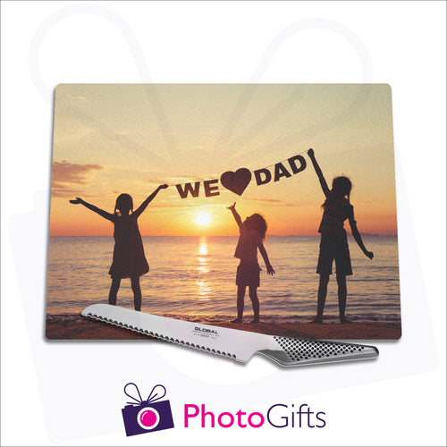 Personalised large glass chopping board with your own choice of image as produced by Photogifts.co.uk