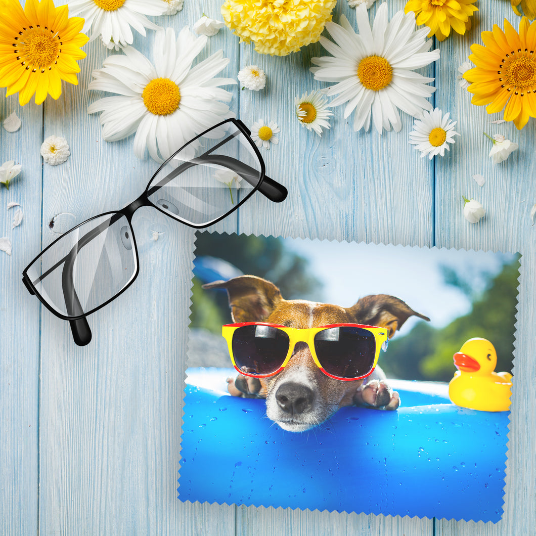 Personalised large lens cloth with your own choice of image on the cloth as produced by Photogifts.co.uk